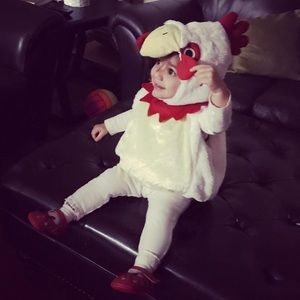 🌻 EUC Plush Chicken Halloween Costume 12-24M